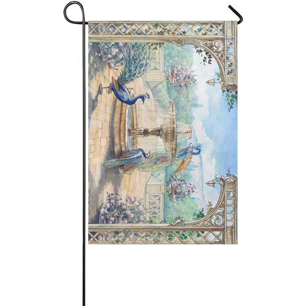 Starclevel Peacock Double Sided Polyester Garden Flag Banner 12 x 18 inch, Watercolor Fountain Birds and Park Decorative Yard Flag for Party Home Outdoor Decor