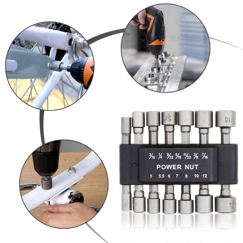 14-Piece SAE /& 7 E.Durable Power Nut Driver Set with Belt Clip, 7 Metric