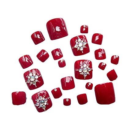 Lurrose - Juego de 24 pegatinas de uñas acrílicas para los dedos de los pies,