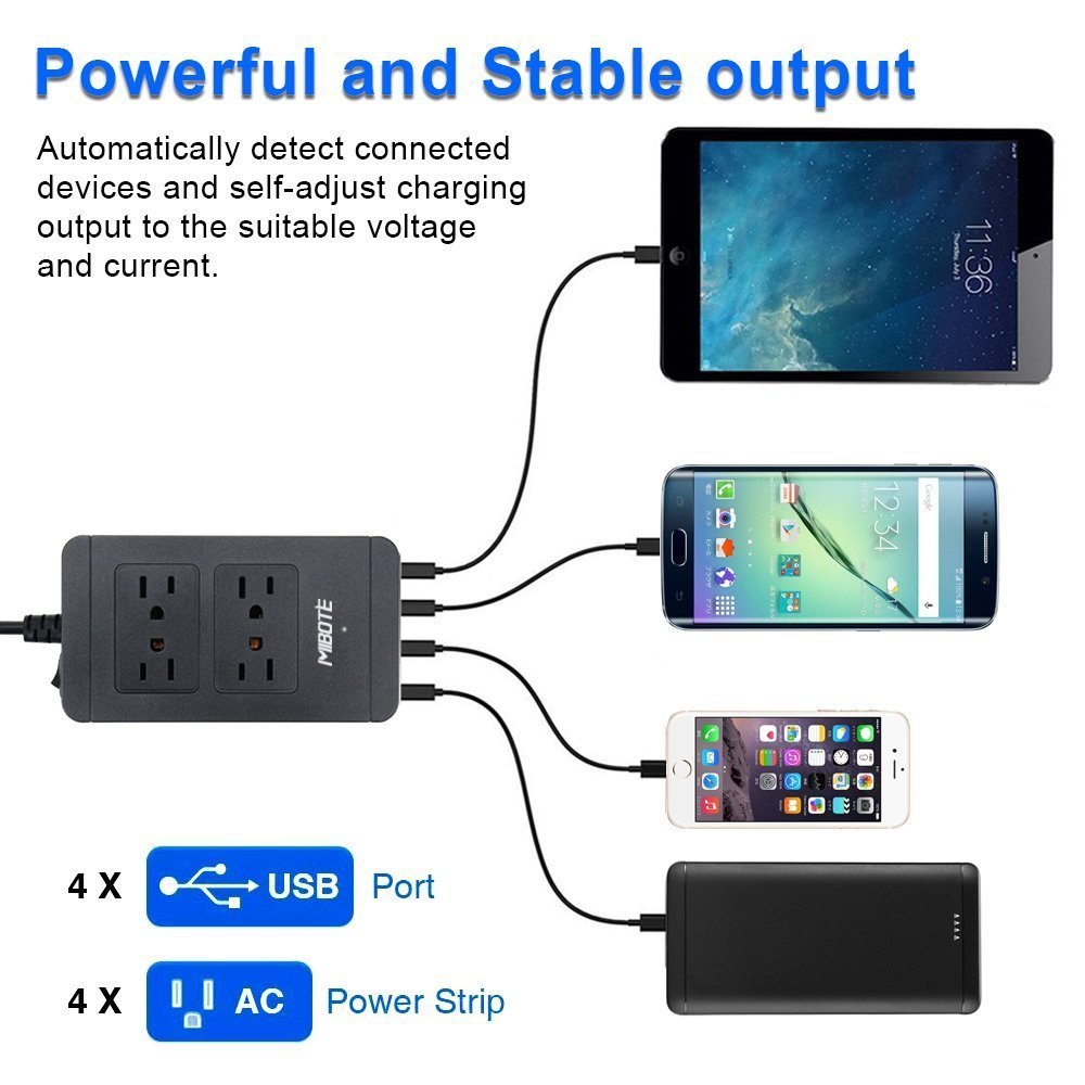 Computer TV Black Power Bank Transformers Power Strip with USB Charger,Mibote Smart 4-Outlet Surge Protector Power Bar with 4 Port USB Charger 6ft Power Cord 2500W 100-240V for Travel