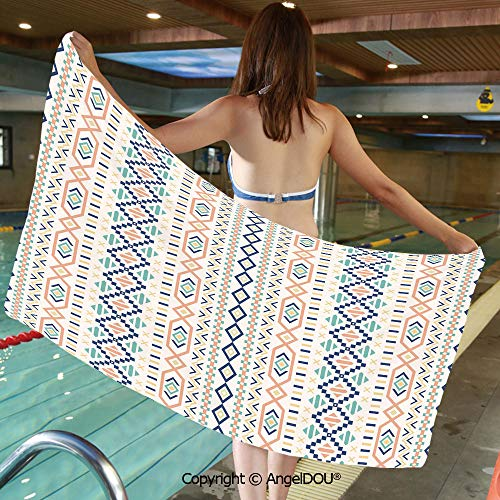 AngelDOU Printed Bath Sport Travel Beach Towels Tribal Culture Primitive Native American Old Fashioned Lines and Squares Design Decorative Men Women Shower Towels.W27.5xL55(inch) (Loft Bath Line Toilet Roll)