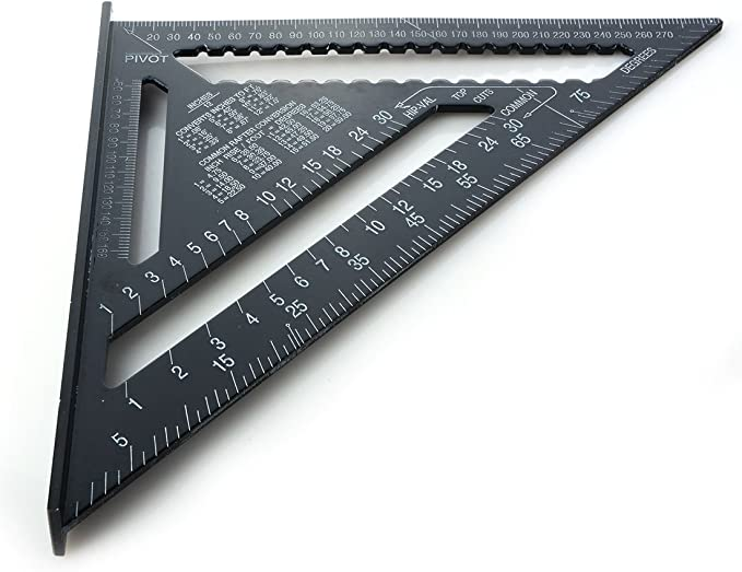 Measurement Ruler Triangle Aluminum Alloy Layout Gauge 12inch Woodworking Tools