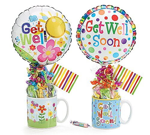 Get Well Soon Candy, Ballon and Mug Gift Set- You Will Get One of These Three Mugs