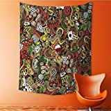 AmaPark Decor Tapestry Wall Hanging by Doodles Style Art Bingo Excitement Checkers King Tambourine Vegas Home Decoration Wall Tapestry Hanging 40W x 60L Inch