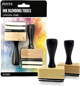 Pixiss Mini Ink Blending Tools, 2 Pack Rectangle with 4 Replacement Foam Pads for Distressing, Blending and More