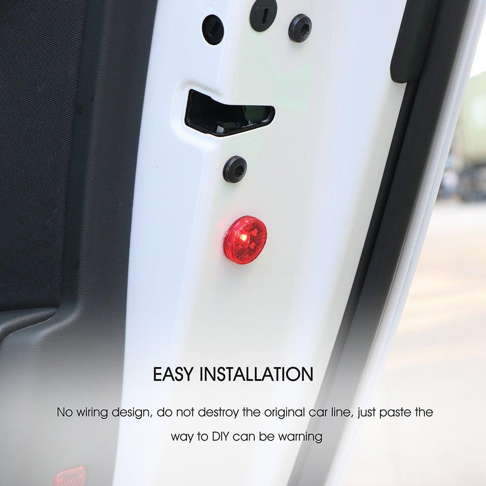 luci di sicurezza impermeabili con luci lampeggianti a LED rosse anti-collisione 2 pezzi Luci di avvertimento senza fili per portiera dellauto