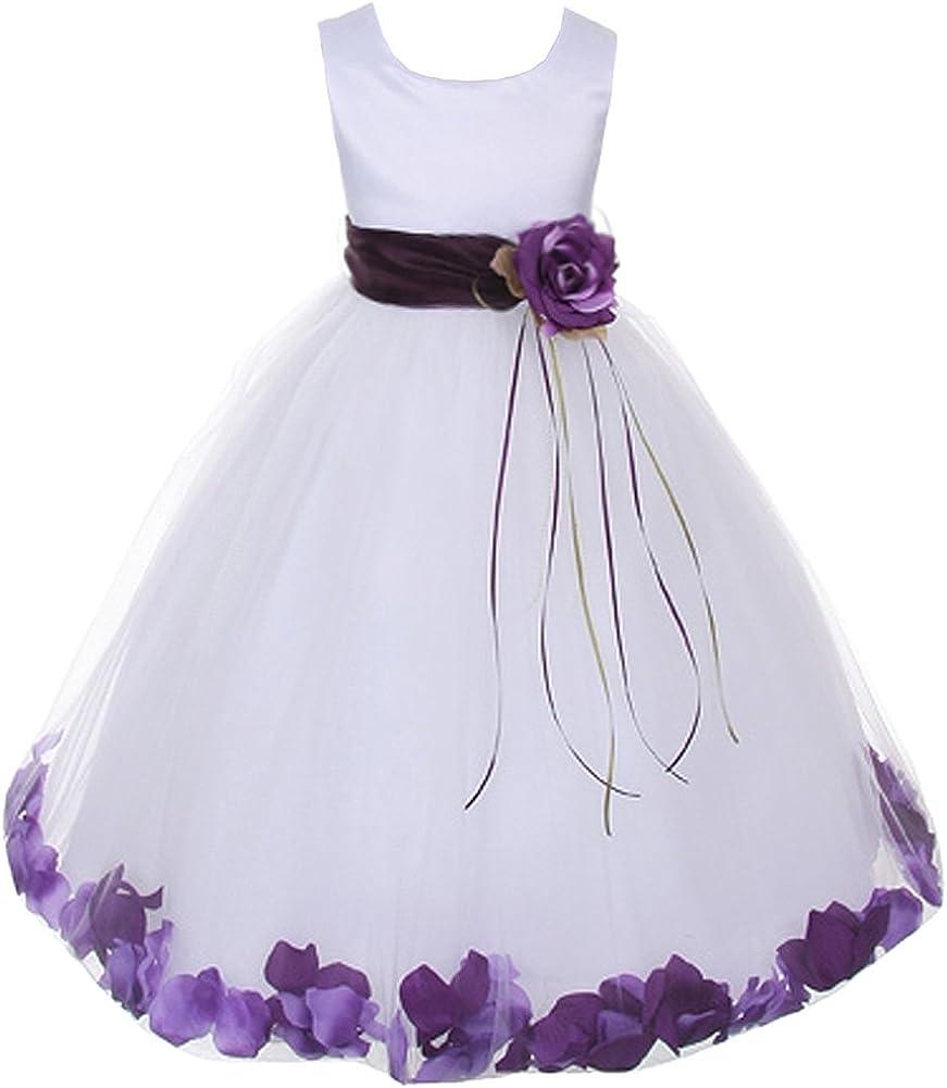 purple kids flower girl dresses