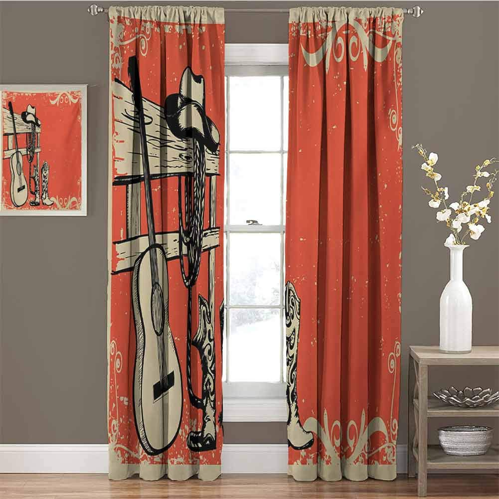 Western All Season Insulation Image of Wild West Elements with Country Music Guitar and Cowboy Boots Retro Art Noise Reduction Curtain Panel Living Room W42 x L95 Inch Beige Orange by GUUVOR