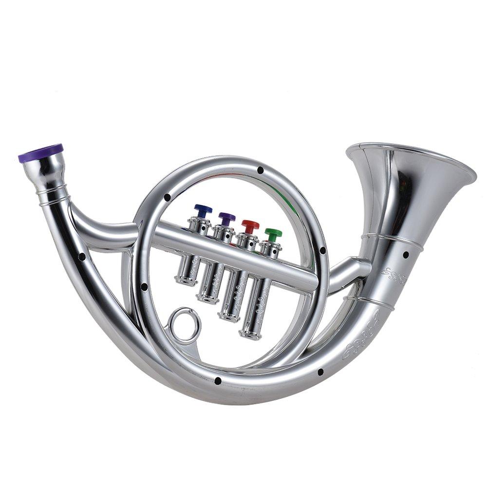 AMMOON Instrumento Musical Juguete Cuerno Francés con 4 Llaves Colores Regalo Musical para Niños Niños