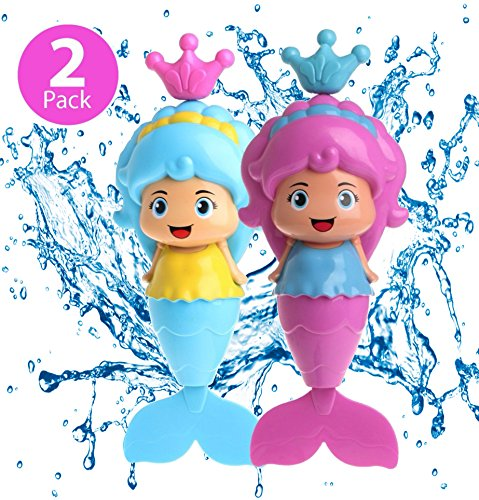 Bathtub Pool - Baby Bath Toy - Mermaid Floating Water Toy for Kids and Toddlers - For Swimming Pool Beach Tub Time Fun - BPA Free - 2 Pack