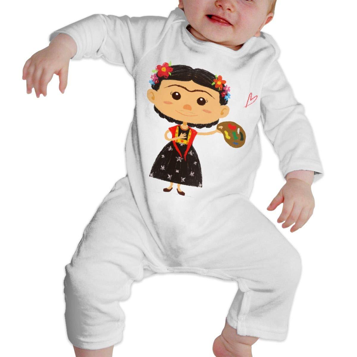 SININIDR Newborn Jumpsuit Infant Baby Girls Cute Frida Long-Sleeve Bodysuit Playsuit Outfits Clothes Black
