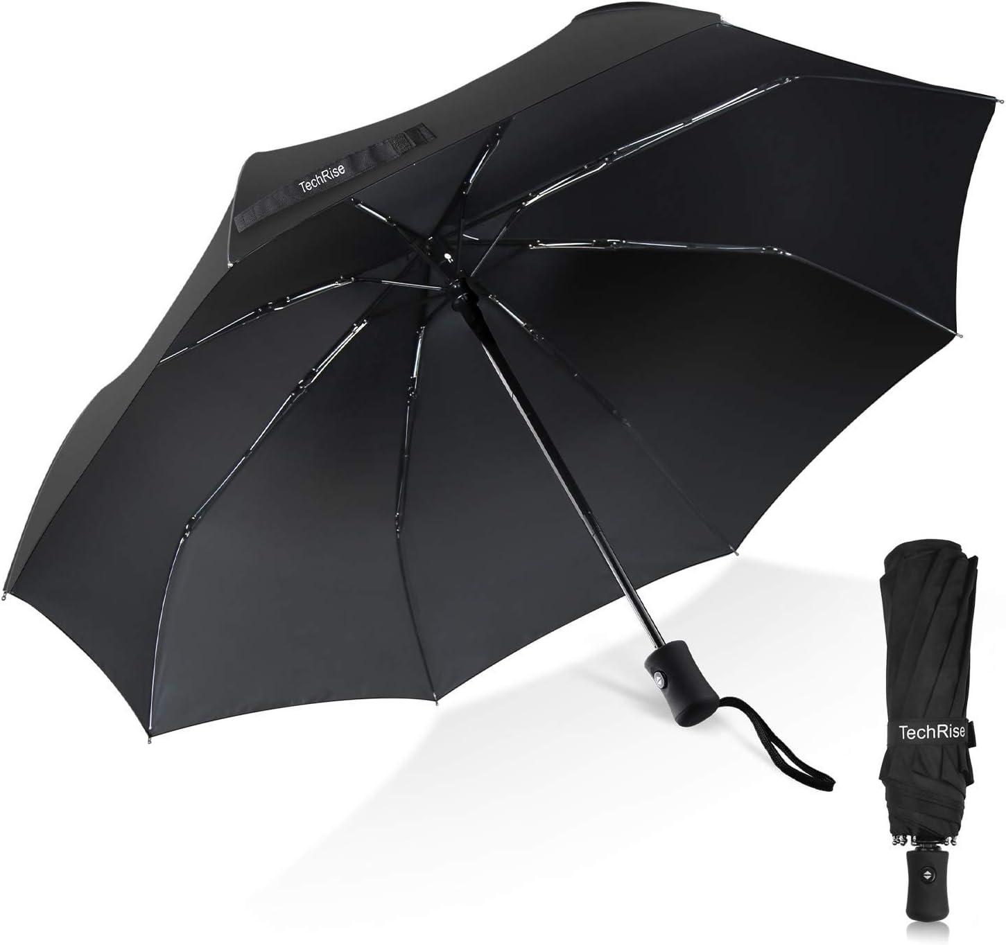 Paraguas, TechRise Paraguas Plegable Pequeño de Viento Plegable ...