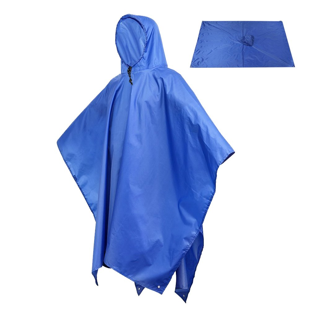 Sotical Veamor Rain Poncho, 3 in 1 Multifunctional Portable Raincoat with Hood Hiking Camping Mat Cycling Rain Cover Poncho for Outdoor Activities (Blue)