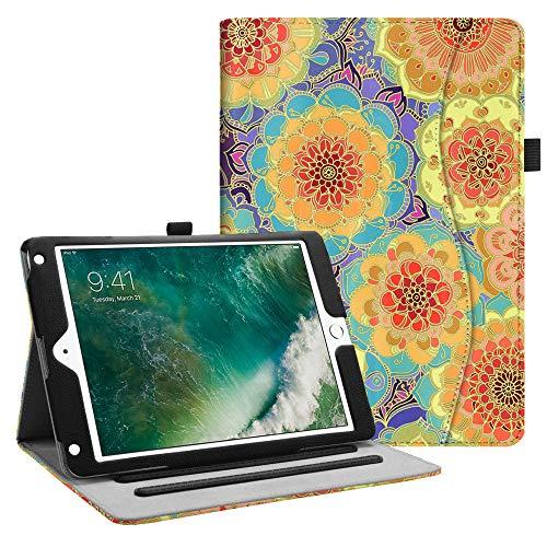 Fintie iPad 9.7 2018 2017 / iPad Air 2 / iPad Air Case - [Corner Protection] Multi-Angle Viewing Folio Cover w/Pocket, Auto Wake/Sleep for Apple iPad 6th / 5th Gen, iPad Air 1/2, Summer Dahlia