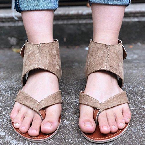 FORUU Summer Women Sandals Flats Fashion Shoes Casual Rome Style Sandals Casual (37, Khaki) by FORUU womens shoes (Image #1)