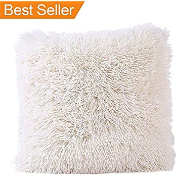 Faux Fur Pillow Cover, FabricMCC Decorative Super Soft Plush Mongolian Faux Fur Throw Pillow Cover Cushion Case (ivory)