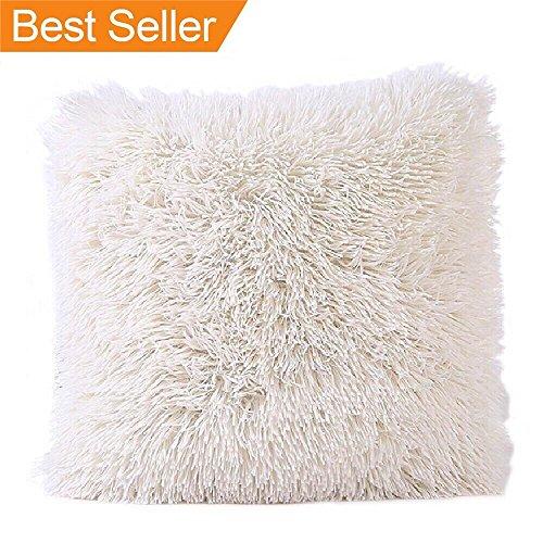 FabricMCC Faux Fur Pillow Cover, Decorative Super Soft Plush Mongolian Faux Fur Throw Pillow Cover Cushion Case (Ivory)