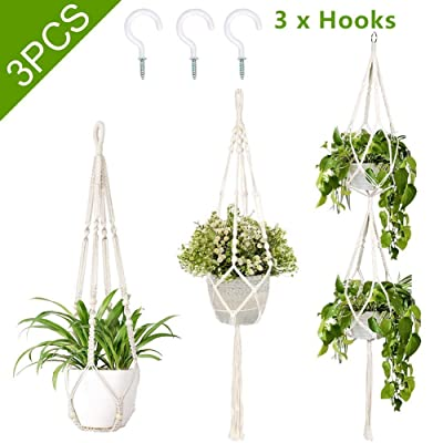 AerWo 3 Pack Macrame Plant Hangers Indoor Outdoor Hanging Plant Holder + 3 PCS Hooks, Handmade Hanging Planter Basket Stand for Boho Home Decor(4 Legs, 3 Sizes): Garden & Outdoor
