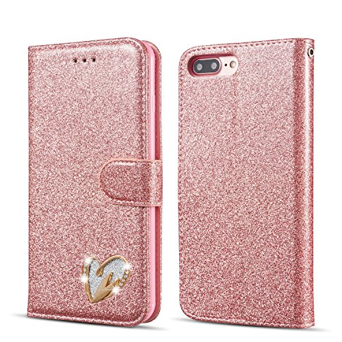 QLTYPRI Wallet Case for iPhone 6 Plus, Glitter PU Leather Case TPU Shell [Magnetic Closure] [Card Slots] Inlaid Loving Heart Diamond Design Flip Cover for iPhone 6 Plus/6S Plus -Rose Gold - Hearts Design Phone Cover