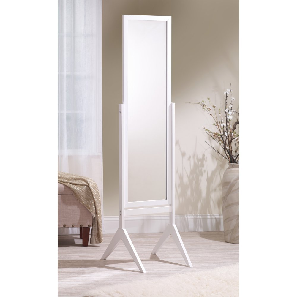 Mirrotek Adjustable Free Standing Tilt Full Length Body Floor Mirror, Cheval Style Tall Mirror, White