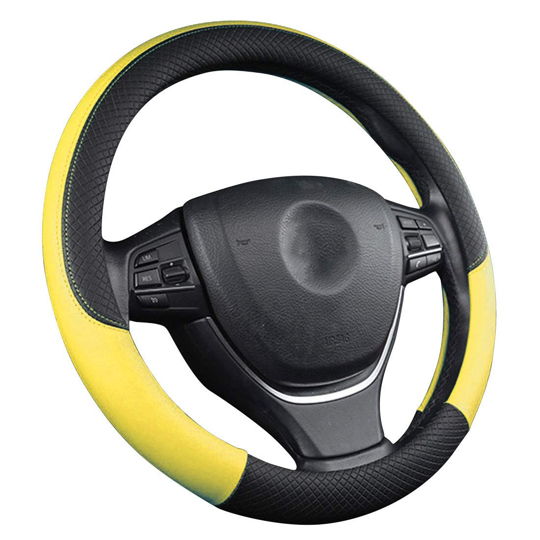 Amazon.com: zzxswc 15inch Car Steering Wheel Cover PU Leather Steering Wheel Cover Soft Padding Anti-Slip Design Universal Fit Most Car (Yellow): Automotive