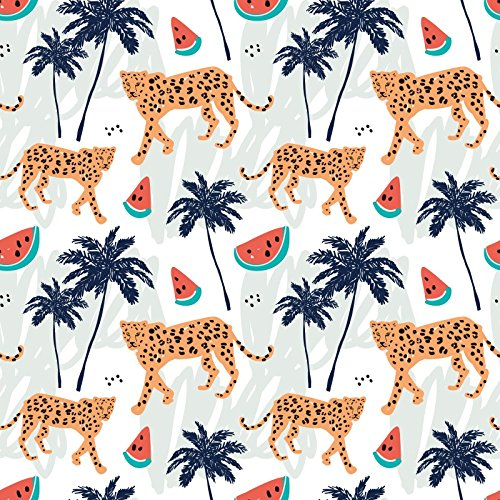 (Laeacco Mosaic Pattern Backdrops 8x8ft Vinyl Studio Backdrop Customized Photography Background Watermelon Tiger Tree Coconut Palm Children's Playground)