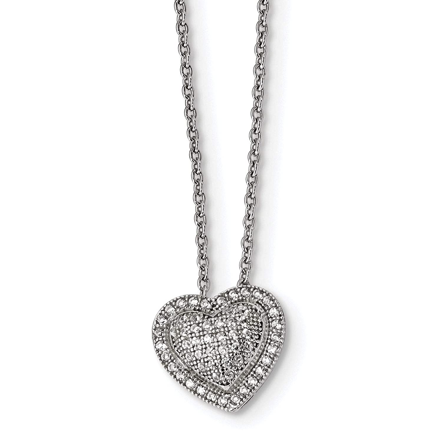 Brilliant Embers Sterling Silver Rhodium-plated Polished CZ Heart Pendant Necklace 18 2 Extender