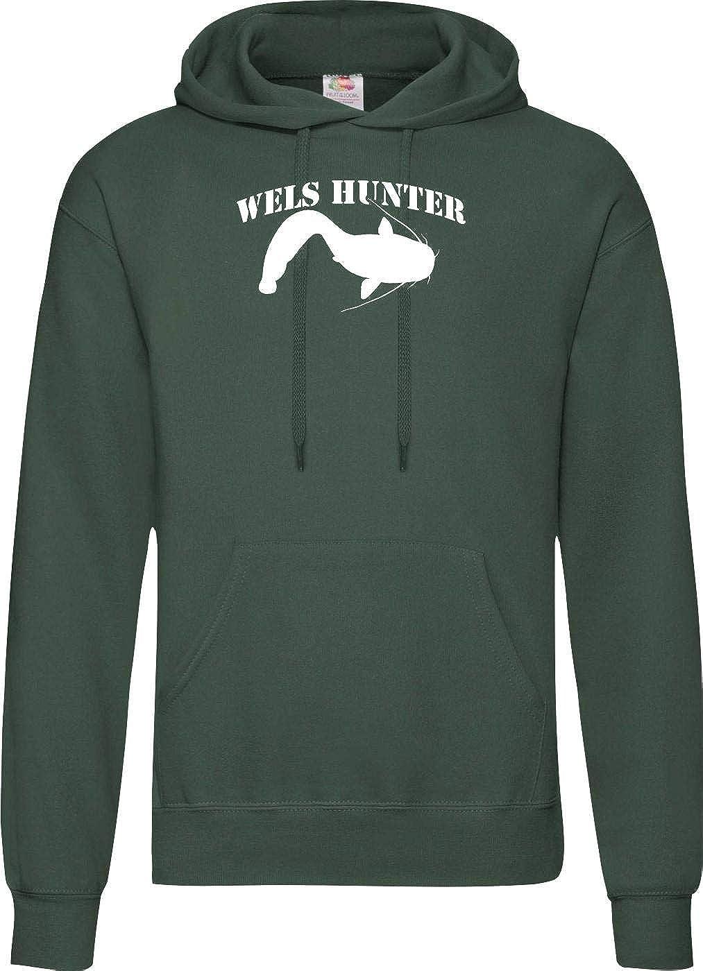 Shirtinstyle Kapu College Hooded Wels Hunter Angeln Fischen Sport