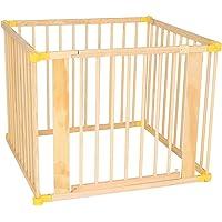 dibea DP0058, Parque infantil de madera para bebés y niños pequeños, cerca con puerta (altura de 68 cm), plegable a 270° y premontado