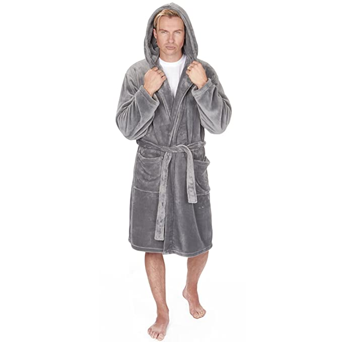 Mens Luxury Soft Coral Fleece Dressing Gown mensrobe