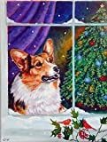 Caroline's Treasures 7305CHF Corgi Christmas Window Flag Canvas, Large, Multicolor
