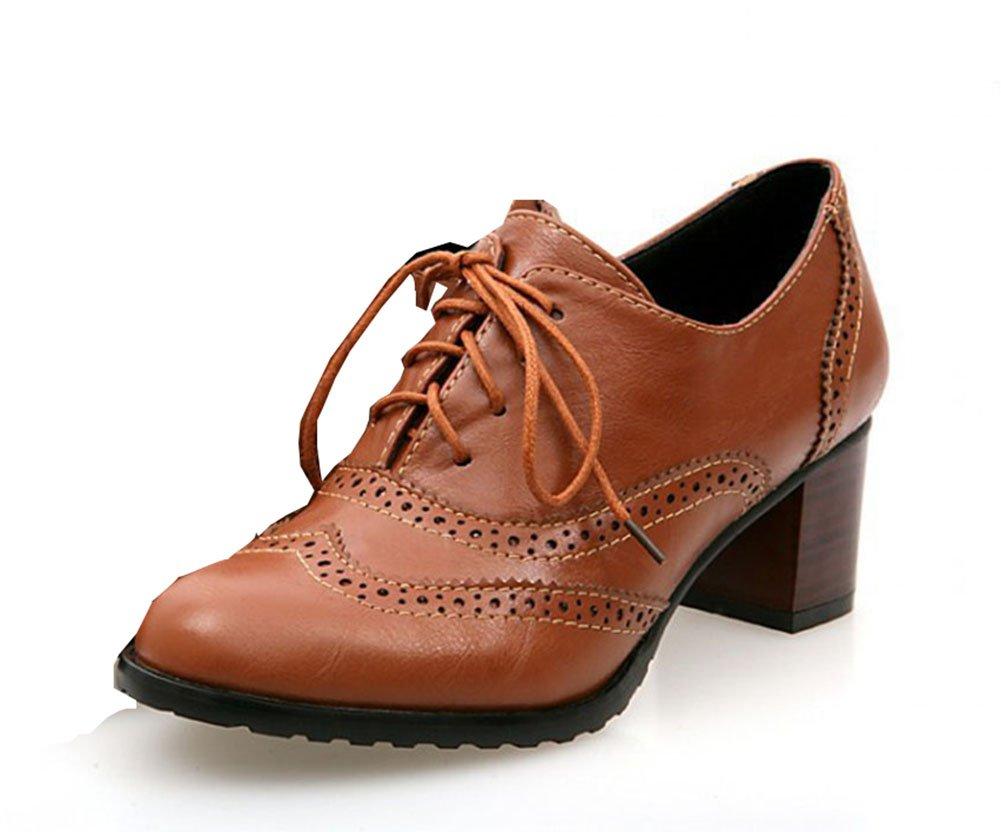 Aisun Women's Retro Lace up Middle Block Heels Brogue Pumps Court Shoes:  Amazon.co.uk: Shoes & Bags