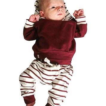 Mameluco bebé 2pcs Conjunto de Ropa Infantil de bebé niño niña Sudadera con  Capucha Rayas Tops 925a54796a10