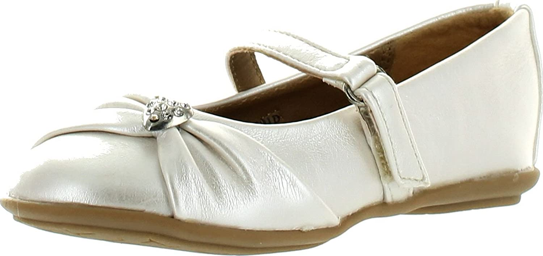 Little Angel Girls Kammi-191D Leatherette Mary Jane Heart Pendant Ballerina Flat Ivory 4 little-angel/_kammi191d/_ivy/_t4