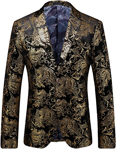 Men's Stylish Glitter Floral Print Suit Slim Fit Blazer Suit, Black Gold, L/42 = Tag 58