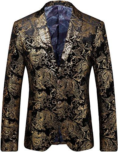 Men's Stylish Glitter Floral Print Suit Slim Fit Blazer Suit, Black Gold, L/44 = Tag 60