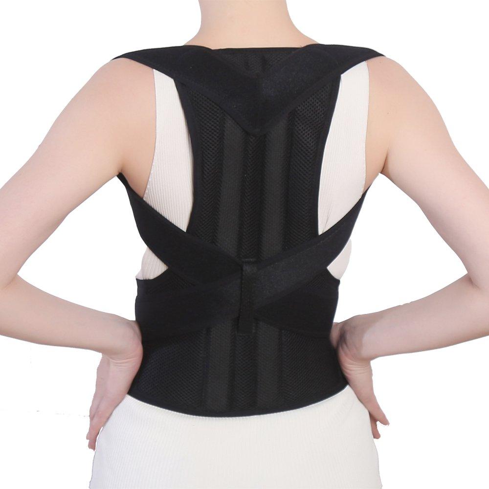 UDOARTS Back Posture Brace (Waist/Belly 35'' - 39'', Large, Black)