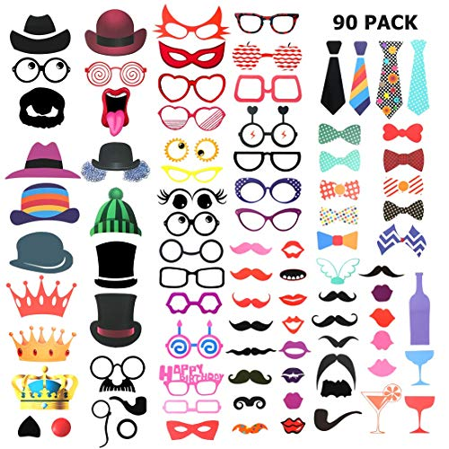 Photo Booth Props DIY Kit - 90PCS Party Photobooth Props Funny Photo Booth Party Favor for Birthday Engagement Wedding Party Graduation Prom with 95 Wooden Sticks 180 Stickers (90 Pieces) ()