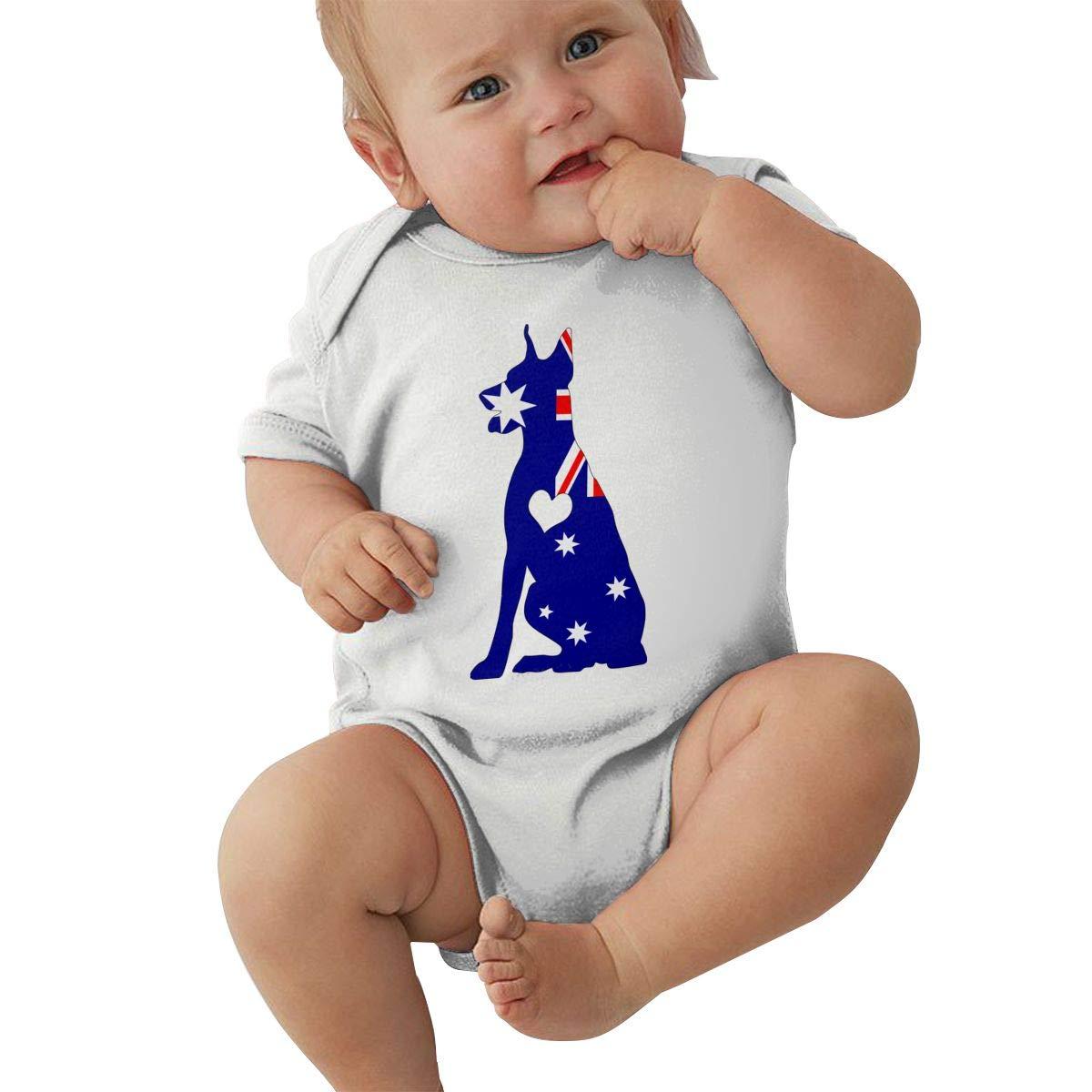 Mri-le2 Unisex Baby Short Sleeve Bodysuit Australian Flag Adore Dobermans Dog Kid Pajamas