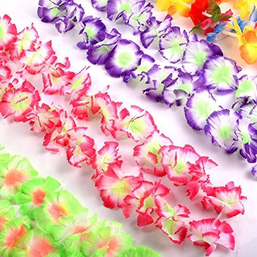Yojoloin 24 Pezzi Hawaiian Leis Luau Fiori con 12 bracciali 6 Fasce e 6 collane per Luau Hawaiian Decorazioni per Feste Forniture per Foto Booth Puntelli.