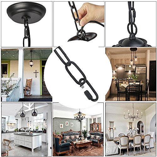 LNC 19-Feet Ceiling Extra Loop Chain Extension Lighting Chains (Black) by LNC (Image #4)
