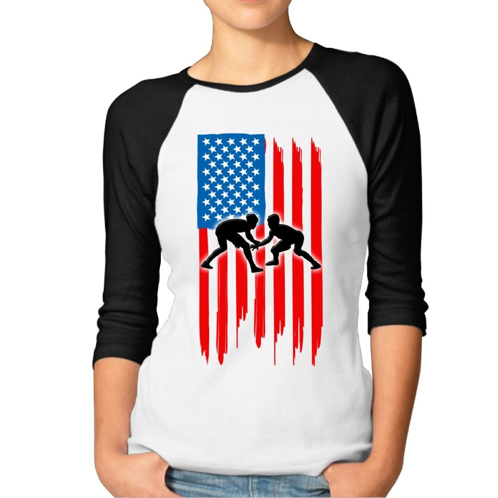 Mkajkkok American Flag Wrestling Women's Casual 3/4 Long Sleeves by Mkajkkok
