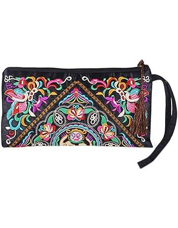 30d50ce62 Tinksky Vintage mujer étnica monedero cartera bolsa mariposa flor teléfono