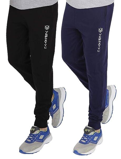 b1ef3736 VERSATYL Men's Cotton Slim Fit Track Pants Joggers Combo Pack of 2 (Medium)  Black