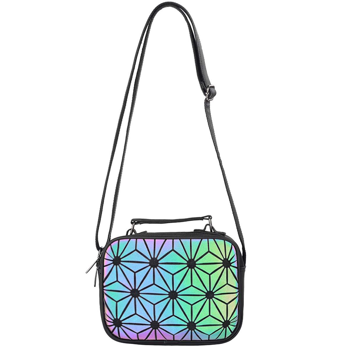 Geometric Holographic Purse Women Luminous Purse and Handbag Crossbody Mini Satchels Foldable Wallet Halloween Bag