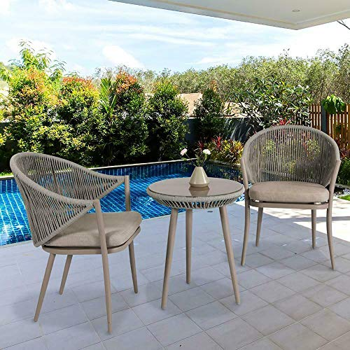 Nuu Garden DW101-KF Stationary Aluminum Woven Rope Outdoor Furniture Dining Chair with Beige Cushions (Set of 2)