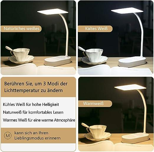 Wiederaufladbare LED Schreibtischlampe Tischlampe dimmbar Leselampe Büroleuchte