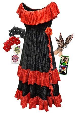 001cb3b9dddd Amazon.com: Plus Size Day of the Dead Halloween Costume For Dia de ...