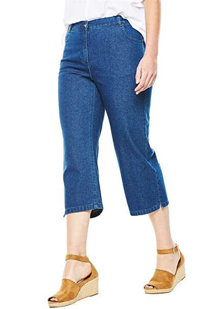 53b7f286b3034 Woman Within Plus Size Cotton Capri Jean at Amazon Women s Jeans store