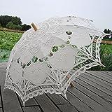 Saitec® New Fashion Hot Sale Handmade Cotton Embroidery Beige Battenburg Lace Parasol Umbrella Wedding Decorations